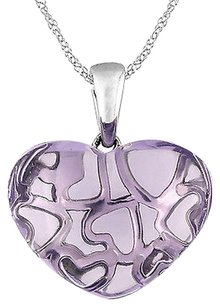 10k White Gold 9 13 Ct Rose De France Heart Love Pendant Necklace