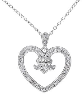 Other Sterling Silver Diamond Open Heart Love Pendant Necklace Gh I2i3