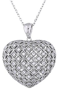 Other Sterling Silver 12 Ct Created White Sapphire Heart Love Pendant Necklace