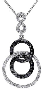 Sterling Silver 12 Ct Black And White Diamond Circle Pendant Necklace Gh I2i3