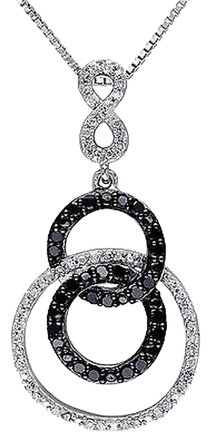 Other Sterling Silver 12 Ct Black And White Diamond Circle Pendant Necklace Gh I2i3