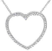 Other Sterling Silver 110 Ct Diamond Tw Heart Love Pendant Necklace I3