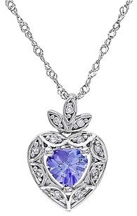 10k White Gold Diamond And 38 Ct Tanzanite Heart Love Pendant Necklace