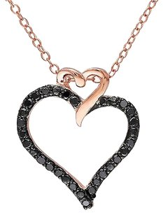Pink Sterling Silver 14 Ct Black Diamond Fashion Heart Love Pendant Necklace