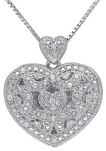 Sterling Silver 110 Ct Diamond Tw Heart Love Fashion Pendant Necklace Gh I2i3