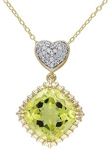Yellow Sterling Silver 5 14 Ct White Topaz Lemon Quartz Heart Pendant Necklace