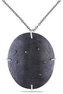 Sterling Silver Black Marcasite Circle Necklace Pendant