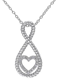 Other Sterling Silver Diamond Heart Love Swivel Crossover Infinity Pendant Necklace