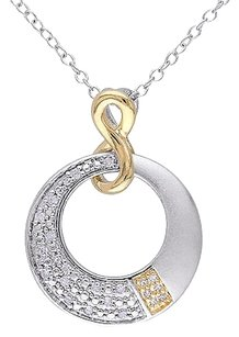 Other Sterling White Yellow Silver 110 Ct Diamond Infinity Pendant Necklace Gh I2i3