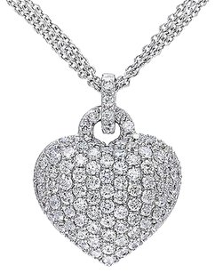 Sterling Silver 3 12 Ct Created White Sapphire Heart Love Pendant Necklace