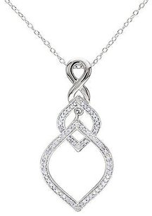 Other Sterling Silver 13 Ct Diamond Heart Love Infinity Crossover Pendant Necklace