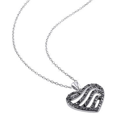 Other Sterling Silver 14 Ct Black Diamond Tw Heart Love Pendant Necklace