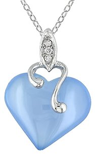 Other Sterling Silver Diamond And 7 15 Ct Blue Chalcedony Heart Love Pendant Necklace