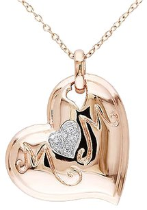 Pink Sterling Silver Diamond Heart Love Pendant Necklace Gh I1i2