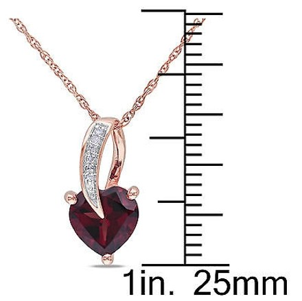 Other 10k Pink Gold Diamond And 1 38 Ct Garnet Heart Love Pendant Necklace Gh I2i3