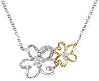 Other 14k Two Tone Gold Diamond Two-tone Flower Nature Necklace 16 Ct G-h I1-i2