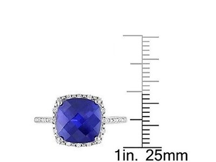 Other Sterling Silver Created Blue Sapphire And Diamond Ring 0.1 Ct G-h I2-i3