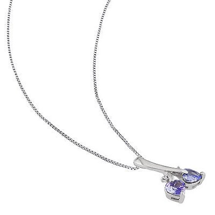 Other Sterling Silver Diamond And 45 Ct Tanzanite Double Heart Love Pendant Necklace