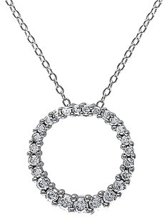 Sterling Silver 12 Ct Diamond Tw Circle Pendant Necklace Gh I3