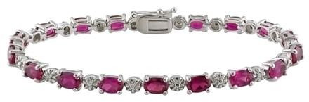 Other Sterling Silver Ruby Diamond Tennis Bracelets 13.52 Ct Cttw G-h I3 7.25