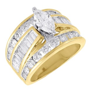 Diamond Solitaire Engagement Ring Ladies 14k Yellow Gold Marquise Design 3 Tcw.