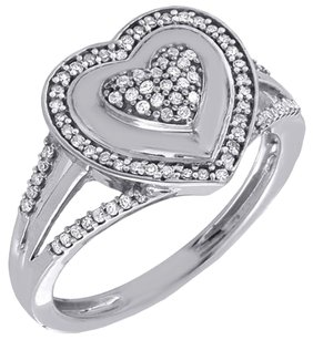 Diamond Heart Cocktail Ring Ladies 10k White Gold Round Pave Fashion 0.25 Tcw.
