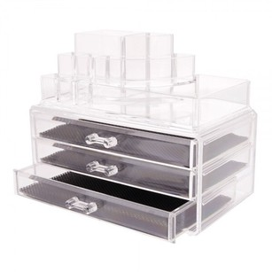Other 2pc Acrylic 3-Drawer Counter Top Makeup Organizer Storage Case