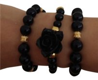 3 set black and gold ball links bracelets.