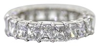 5.12ct F VS2 Radiant Cut Diamond Platinum Eternity Wedding Band Ring Size 6.25