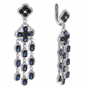 Other 8.23ct Sapphire 14k White Gold And Diamond Chandelier Earrings