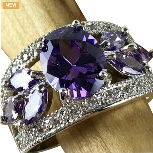 Other .925 Sterling Silver 3ct Amethyst and 0,5 ct White Sapphire Ring #2332