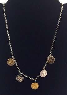 Other .925 Sterling Silver Chain Necklace Ancient Faux Coin Pendents 15