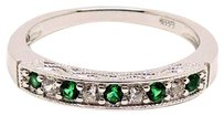 Other .925 Sterling Silver Genuine Green and White CZ Ring