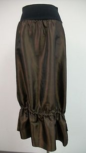 Other Magdalena Iridescent Drawstring Calf Black Knit Waist Skirt Brown