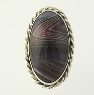 Agate Cocktail Ring - Sterling Silver Womens Fine Estate Rope Work Braid