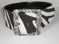 Alessandro Dellacqua Brn Crm Zebra Canvas Lace Leather Wide Belt 550