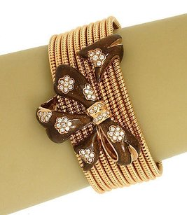 Alessandro Fanfani Diamonds Enmel 18k Rose Gold Bow Design Wide Cuff Bracelet