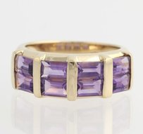 Other Amethyst Cocktail Band Ring - 10k Yellow Gold February 34 - Genuine 2.80ctw
