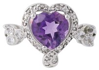 Amethyst Heart Ring Sterling Silver Crystal Quartz Love Womens 1.85ctw