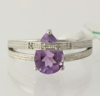 Amethyst Overpass Ring - Sterling Silver 925 Pear Solitaire 1.59ctw