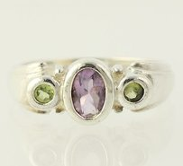 Other Amethyst Peridot Ring - Sterling Silver 3-stone 6.5-6.75 Womens 1.05