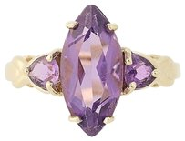 Amethyst Ring - 10k Yellow Gold 3-stone Marquise Solitaire 2.85ctw Birthstone