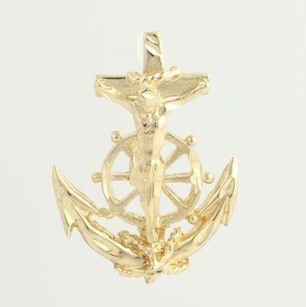 Anchor Crucifix Pendant - 14k Yellow Gold Marines Helm Estate Ocean