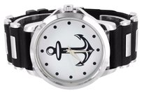 Other Anchor Dial Mens Watch White Joe Rodeo Jojo Look Black Rubber Silicone Strap