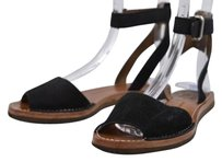 Other Vc Vince Camuto Womens Ankle Strap 6m Suede Flats Casual Black Sandals