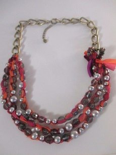Ann Taylor Loft Tie Dye Ribbon Pearl Bead Crystal Brass Tiered Necklace