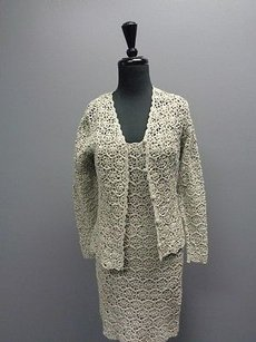 Other Anne Klein Petites Ii Stone Textured Lined Dress Suit Cotton Sma5545