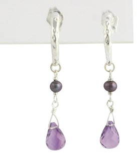 Other Anthology Dangle Earrings Sterling Silver Amethyst Cultured Black Pearl Pierced
