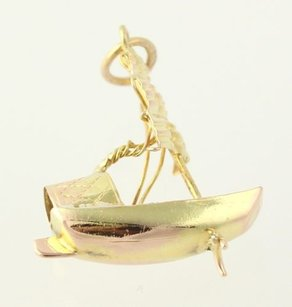 Other Antique Style Boat Design - Solid Fine 10k Yellow Gold 3d Figurine Nautical