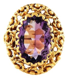 Antique Vintage 12ct. Amethyst 14k Yellow Gold Ring